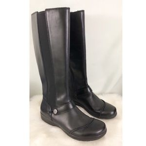 Clarks Black Leather Tall Riding Boots Size 8.5